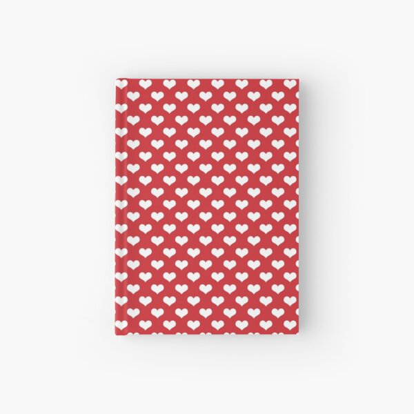 White Hearts Pattern Red Background Hardcover Journal
