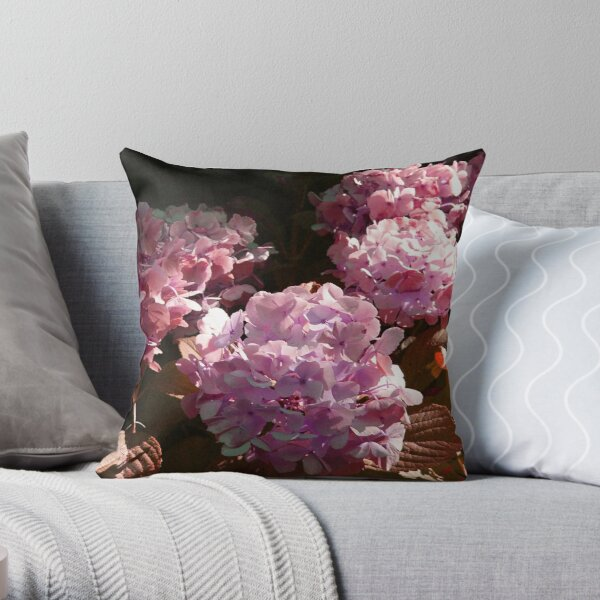 HYDRANGEA IN GLORIOUS PURPLE PINK WITH A SPOT OF SUNSHINE Throw Pillow