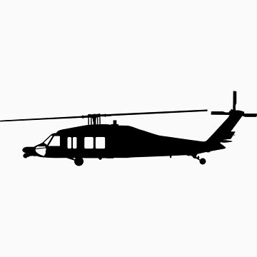 Blackhawk Helicopter Design in Black on a Sticker/T-Shirt v3 by jnmvinylstudio