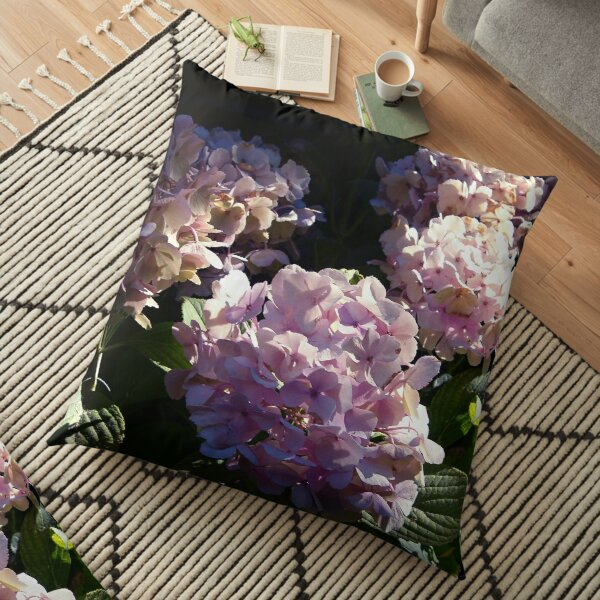 HYDRANGEA IN GLORIOUS PINK BLUE PURPLE WITH A SPOT OF SUNSHINE Floor Pillow