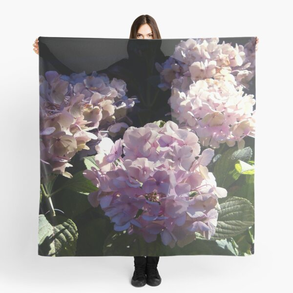 HYDRANGEA IN GLORIOUS PINK BLUE PURPLE WITH A SPOT OF SUNSHINE Scarf