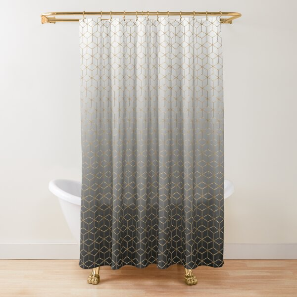 Golden Hexagons -  Shower Curtain