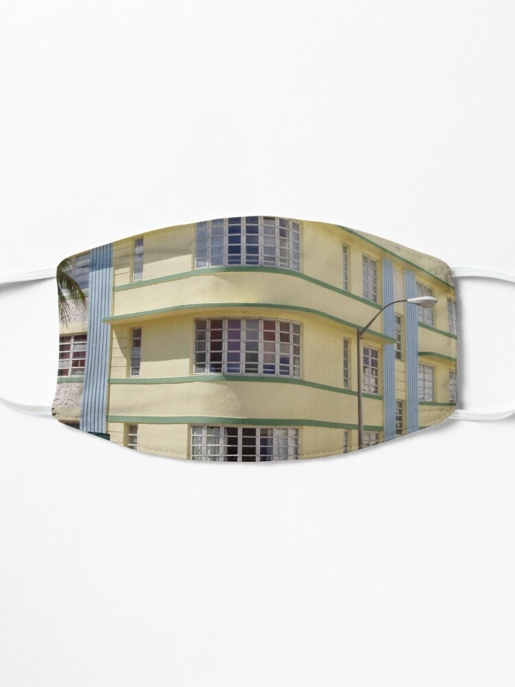 Alternate view of Corner of Yellow Miami South Beach Art Deco Building Mask