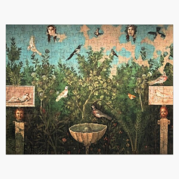 POMPEII COLLECTION / FLYING BIRDS,DOVES,FOUNTAIN  IN GARDEN ,BLUE  GREEN FLORAL Jigsaw Puzzle