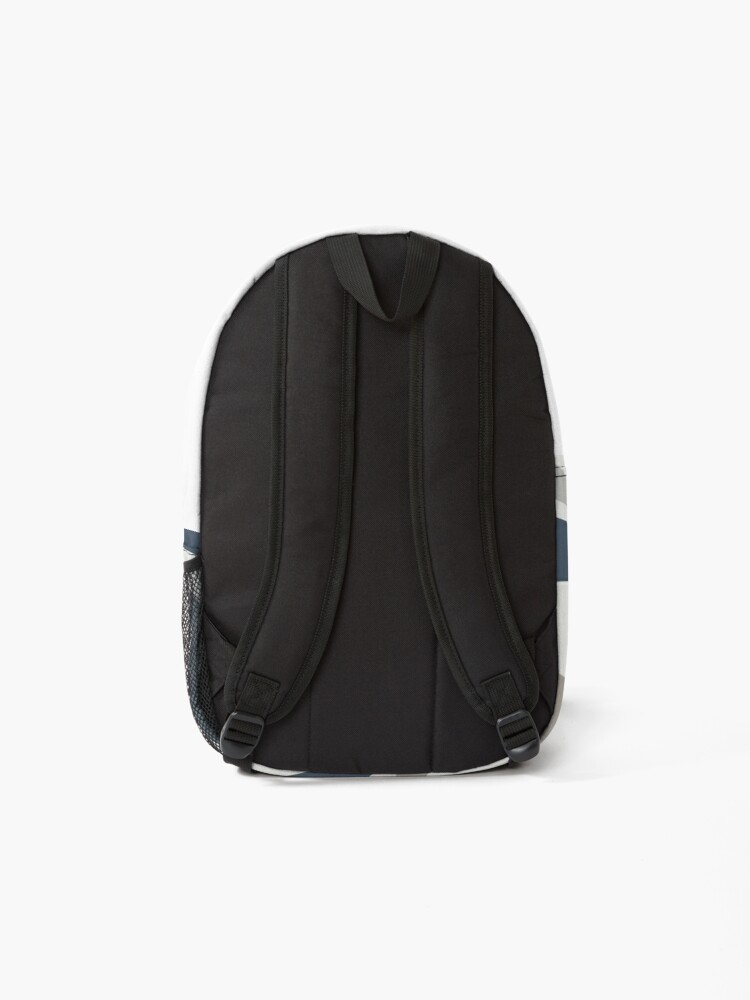 Alternate view of Liquid Swirl Contemporary Abstract in Neutral Blue Grey on Nearly White Backpack