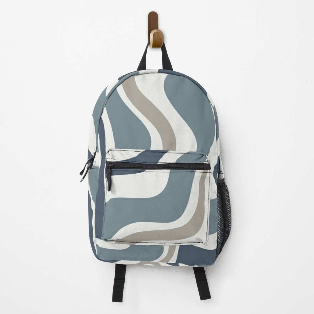 Liquid Swirl Contemporary Abstract in Neutral Blue Grey on Nearly White Backpack