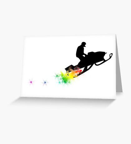 snowmobile powder trail Greeting Card
