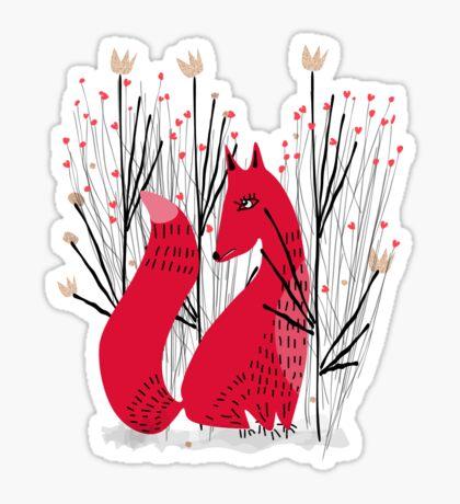Fox in Shrub Glossy Sticker
