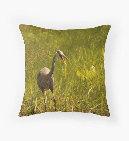 Urban 'Great Blue Heron' say's Hello! Throw Pillow