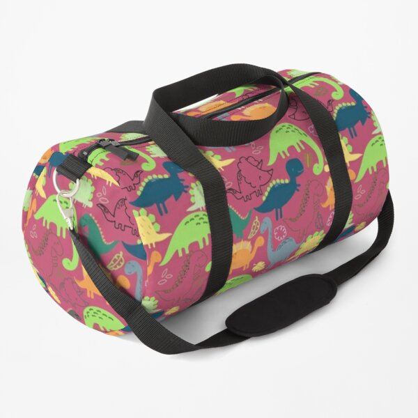 Dinosaurs jungle pattern Pink Background Duffle Bag