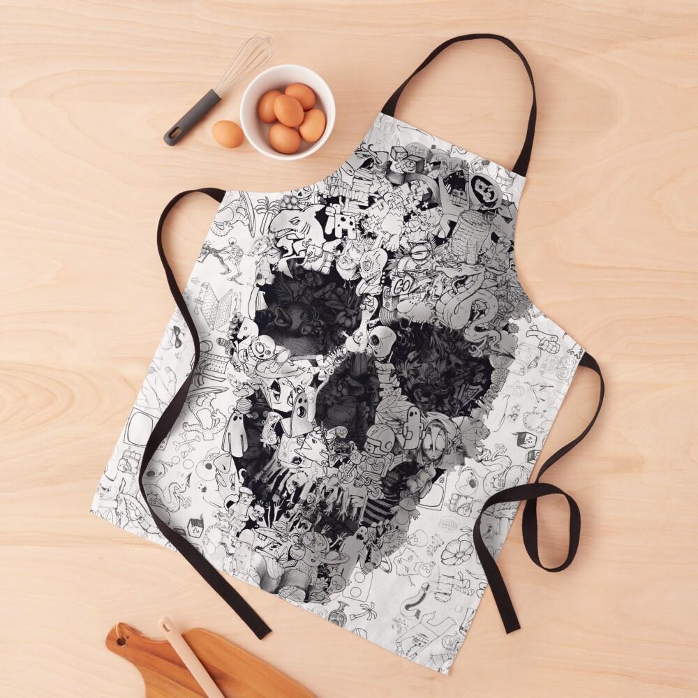 Doodle Skull Apron
