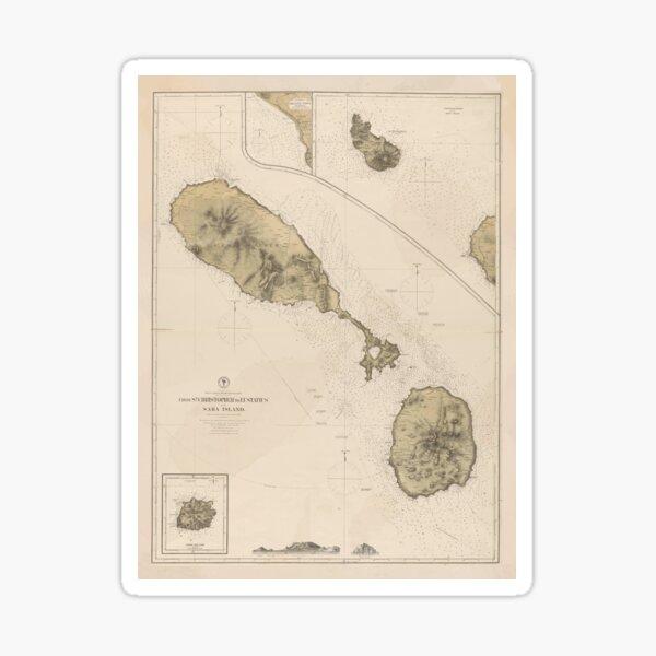 Vintage Map of St Kitts & Nevis (1872) Sticker