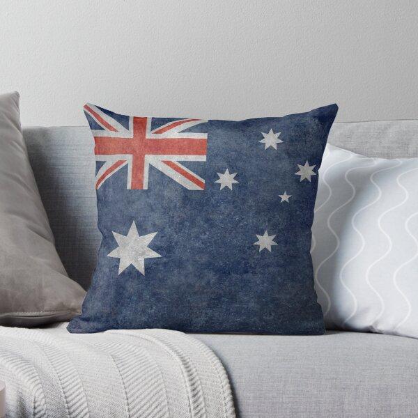 Flag of Australia, grungy retro textured version Throw Pillow
