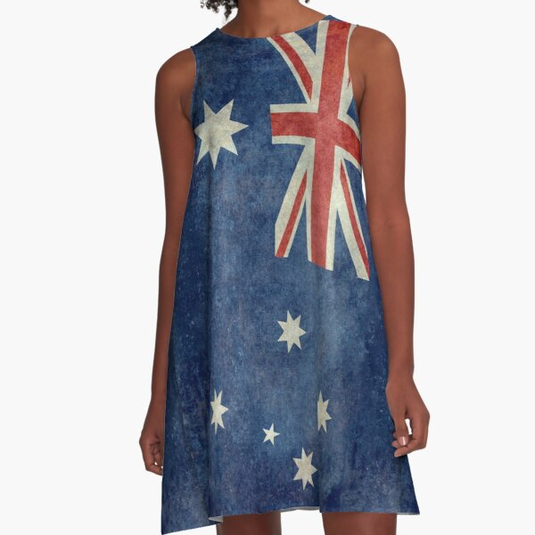 The National flag of Australia, retro textured version (authentic scale 1:2) A-Line Dress