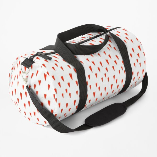 Little red Doodle Hearts  Duffle Bag