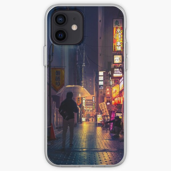 Neon Noir Street Reflecting the warm yellow and orange light from the bar area. iPhone Soft Case