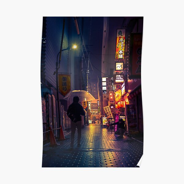 Neon Noir Street Reflecting the warm yellow and orange light from the bar area. Poster