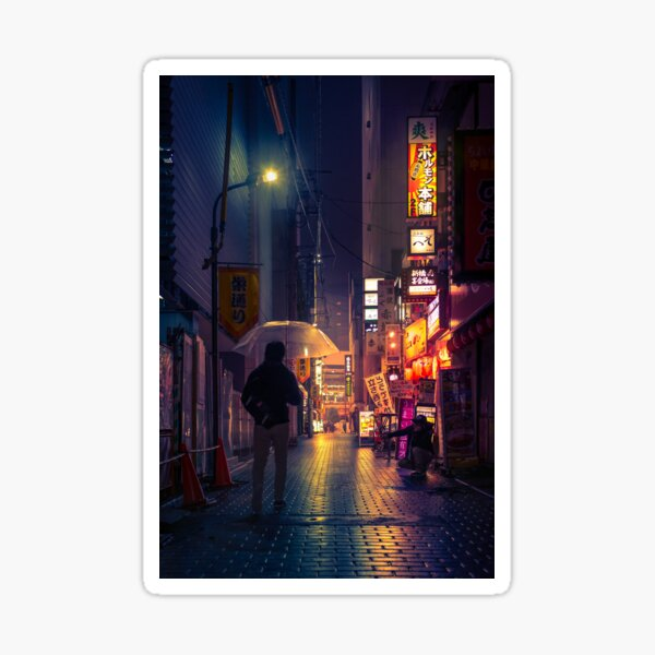 Neon Noir Street Reflecting the warm yellow and orange light from the bar area. Sticker