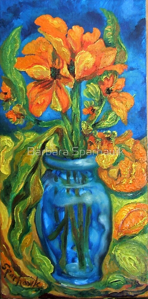 Tulips in Blue Glass With Orange and Garlic Bud by Barbara Sparhawk