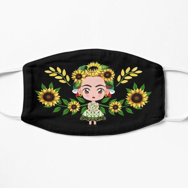 joli masque Frida avec beaucoup de tournesols même sa robe Masque sans plis
