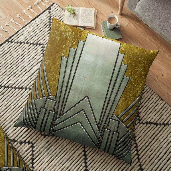 Art deco,gold,black,geometric,metallic,digital photo,original,pattern,vintage,1920 era Floor Pillow