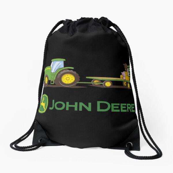 Drawstring Backpack Green Tractor Gym Bag