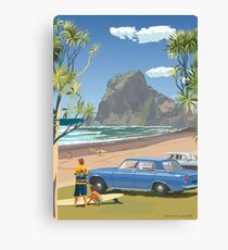 Piha New Zealand with Surfers 1969 Canvas Print