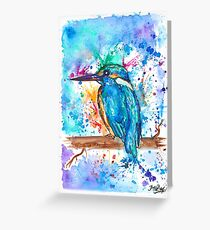 KINGFISHER - Watercolor bird painting - artwork by Jonny2may Tshirts + More! Greeting Card