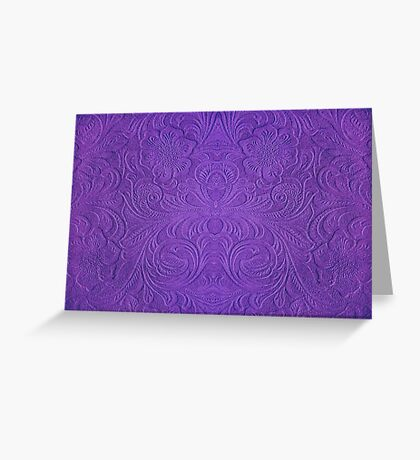 Purple Tones Suade Leather Embossed Floral Pattern Greeting Card