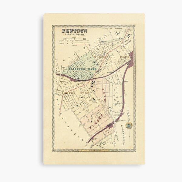 Newtown (Parish of Petersham 1899) – My Inner West Address Map Metal Print