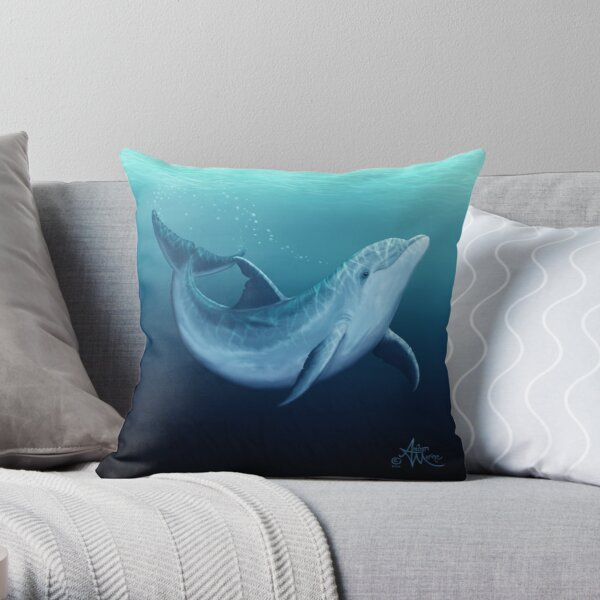 """""""Riversoul Blue"""" by Amber Marine ~ bottlenose dolphin digital painting, art © 2014 Throw Pillow"""