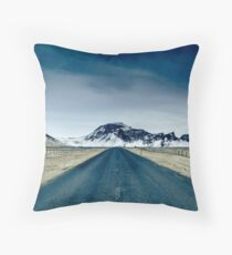 Country road in Iceland Throw Pillow