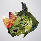 green rhino portrait by Ruud van Koningsbrugge