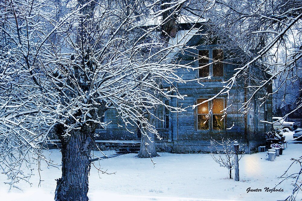 Old Country style house in snow by Gunter Nezhoda