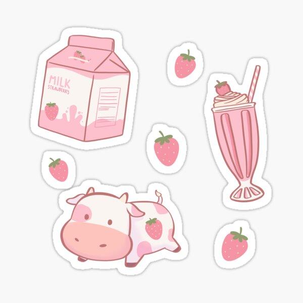 Strawberry Milk Cow Sticker