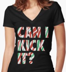 Can I Kick It? (white) Women's Fitted V-Neck T-Shirt