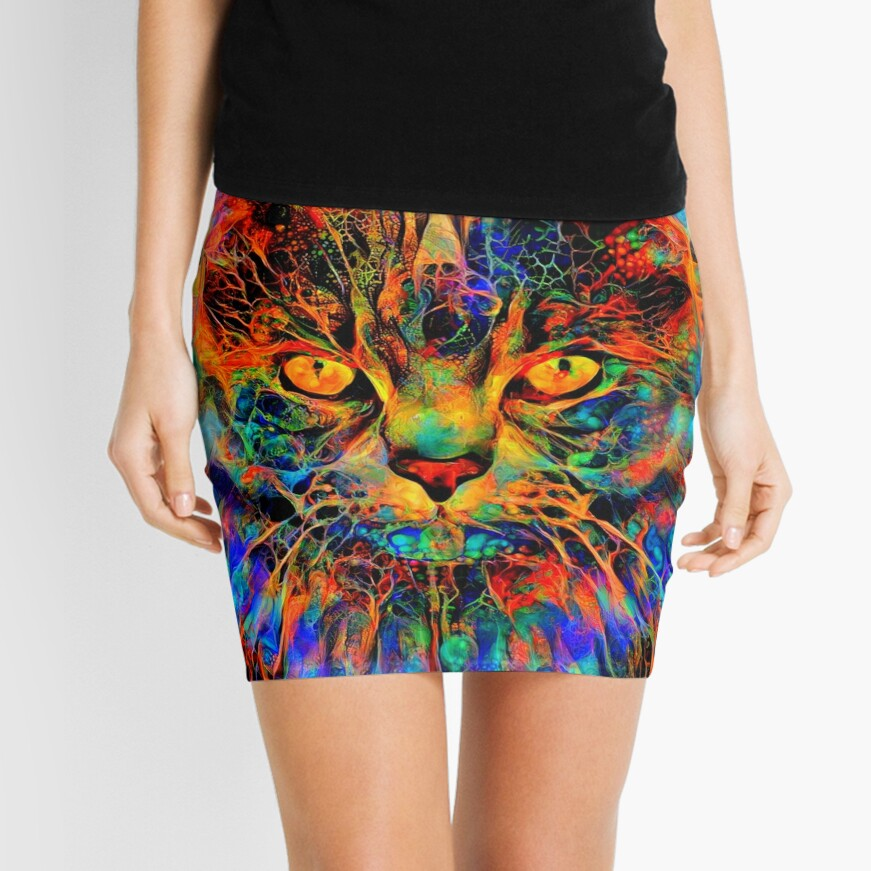 Abstractions of abstract abstraction of cat Mini Skirt