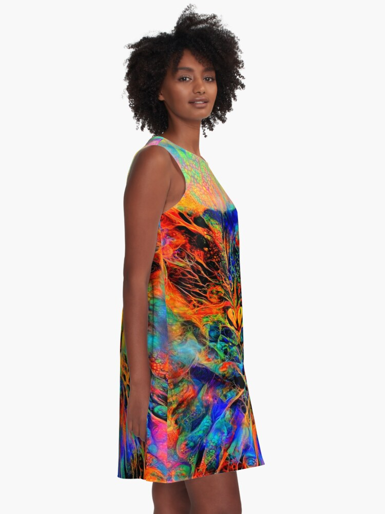 Alternate view of Abstractions of abstract abstraction of cat A-Line Dress