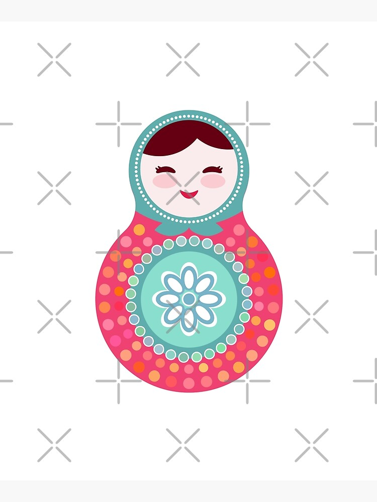 Russian dolls matryoshka, pink blue green colors colorful bright, seamless pattern by EkaterinaP