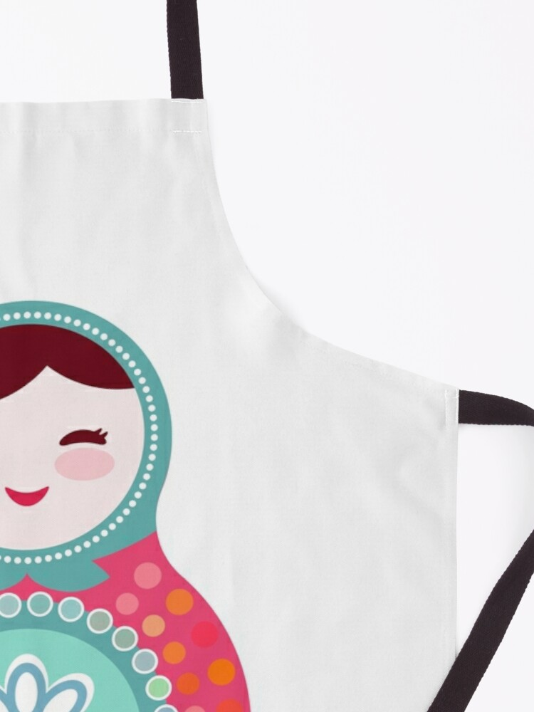 Alternate view of Russian dolls matryoshka, pink blue green colors colorful bright, seamless pattern Apron