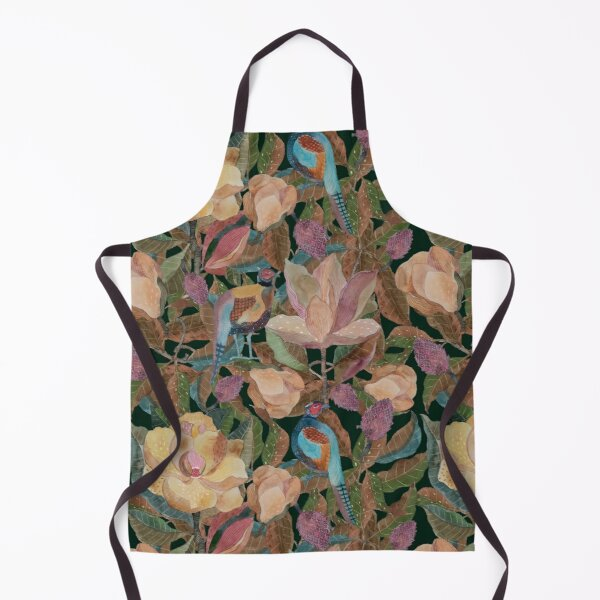 Pattern with magnolia and pheasants Apron