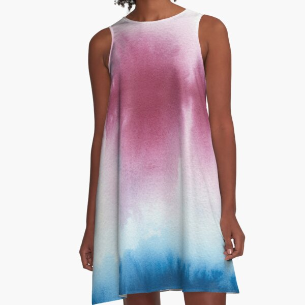 Abstract ink, red and blue A-Line Dress
