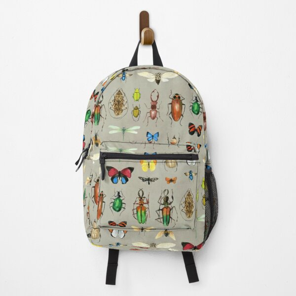 The Usual Suspects - Insects on grey - watercolour bugs pattern by Cecca Designs Backpack