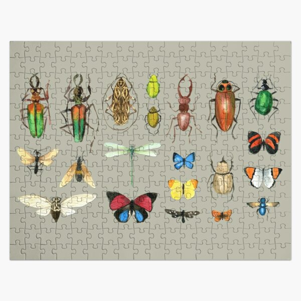 The Usual Suspects - Insects on grey - watercolour bugs pattern by Cecca Designs Jigsaw Puzzle