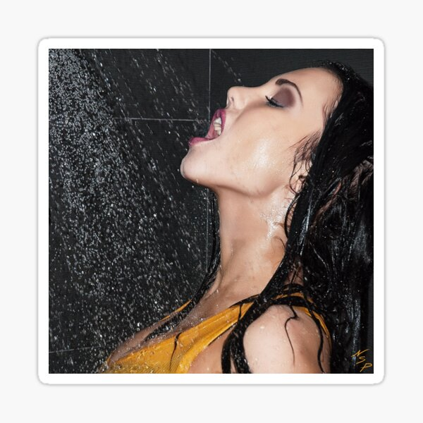 """Erotic Fashion Art Photography Poster Print - """"Getting Wet """" Featuring a Hot Sexy Brunette Model - Tshirts - Mugs - Phone Cases and More.  Sticker"""