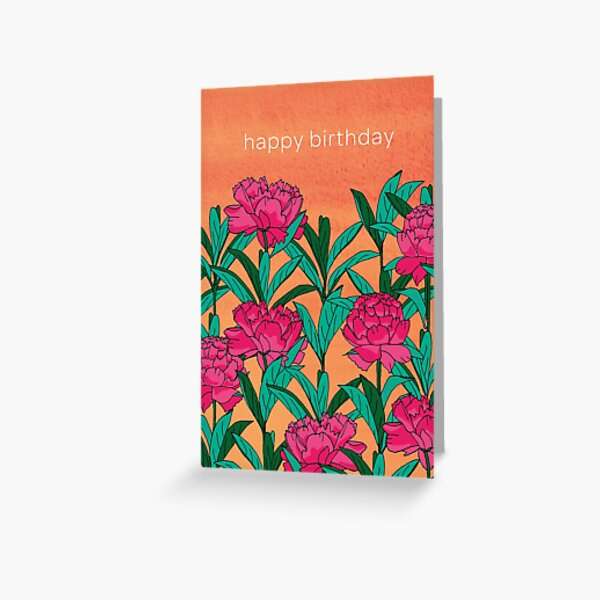 Birthday Peonies Greeting Card
