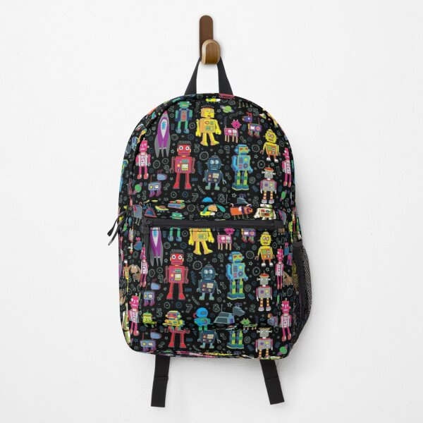 Teal and purple abstract design backpack school bag laptop bag lasers sea urchins pattern