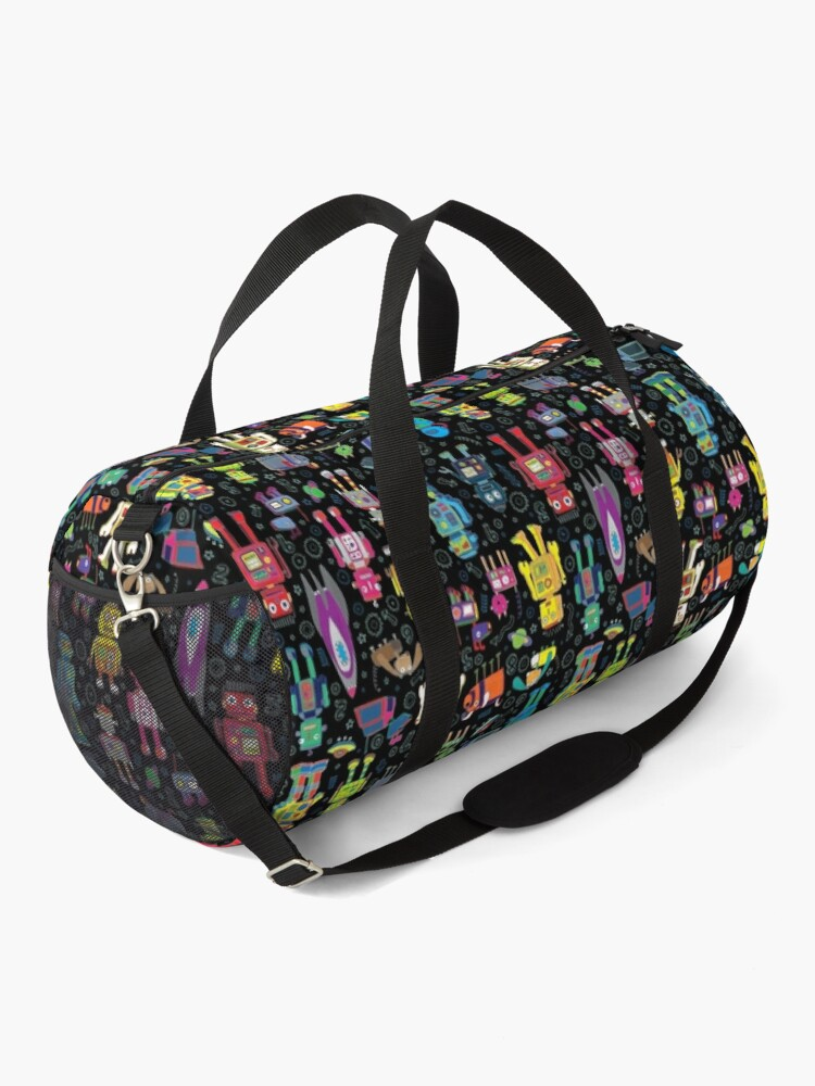 Alternate view of Robots in Space - black - fun pattern by Cecca Designs Duffle Bag