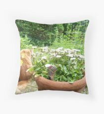Maine Coon discovering herbs Throw Pillow