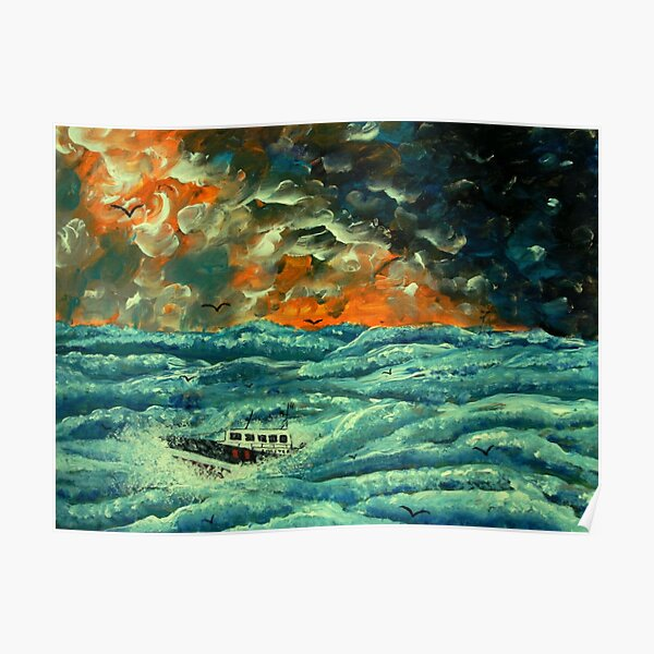 Boat in Rough Seas Poster